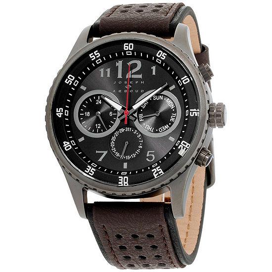 Joseph Abboud Mens Brown Leather Strap Watch-Ja3203bk648-050