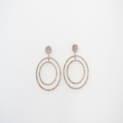Vieste Rosa Clear Brass 2 1/2 Inch Hoop Earrings