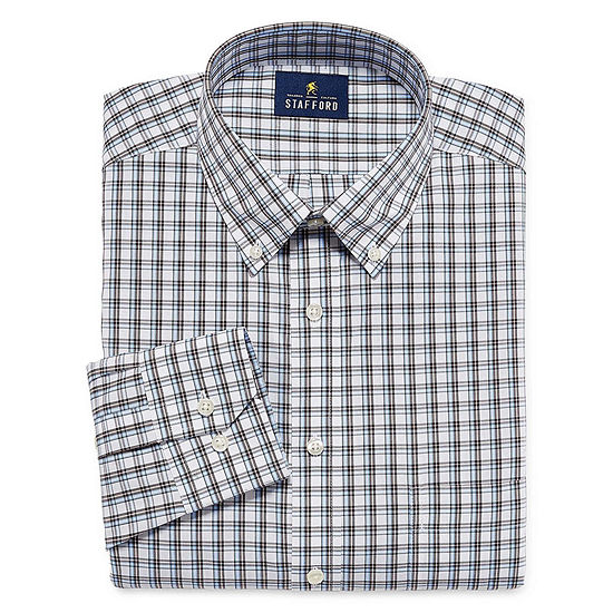 Stafford Executive Non-Iron Cotton Pinpoint Oxford Long Sleeve Plaid Dress Shirt - Big And Tall