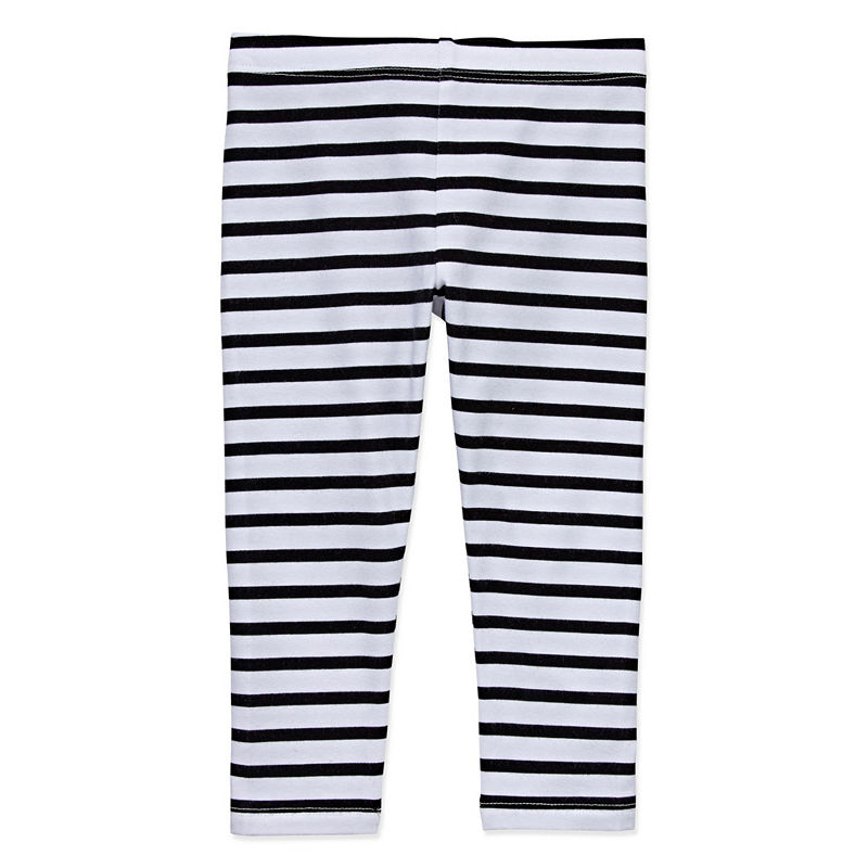 Okie Dokie Pull-On Pants Girls, White Black, Size 9 Months