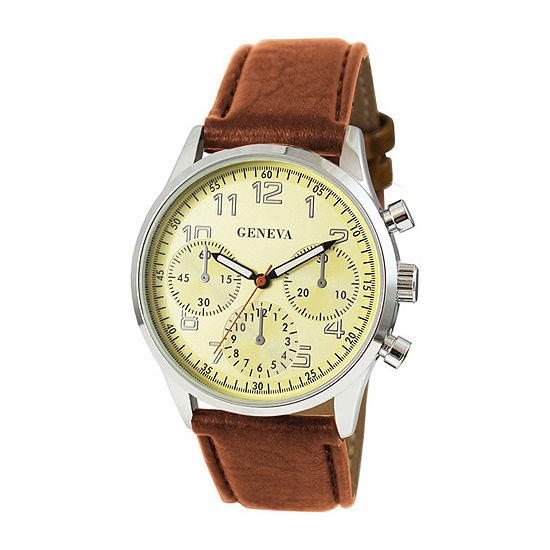Geneva Mens Silver Tone Bracelet Watch-Jry7043slcaly