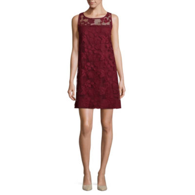 Robbie Bee Sleeveless Applique Floral A-Line Dress-Petite