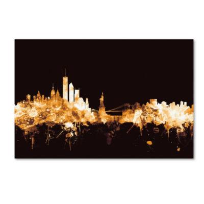 Trademark Fine Art Michael Tompsett New York Skyline Gold Giclee Canvas Art
