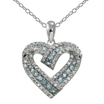 Womens Blue Topaz Sterling Silver Round Pendant Necklace