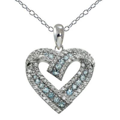 Womens Genuine Blue Topaz Round Pendant Necklace