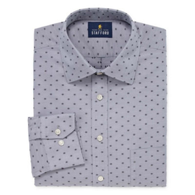 Stafford Executive Non-Iron Cotton Pinpoint Oxford Big And Tall Mens Spread Collar Long Sleeve Dress Shirt