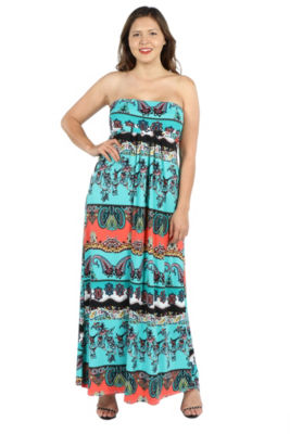 24Seven Comfort Apparel Bethany Strapless Green and Black Empire Waist Maxi D