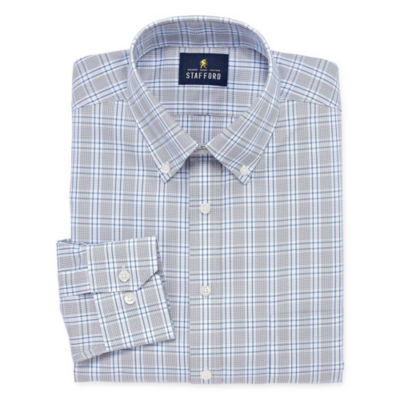Stafford Executive Non-Iron Cotton Pinpoint Oxford Big And Tall Long Sleeve Grid Dress Shirt