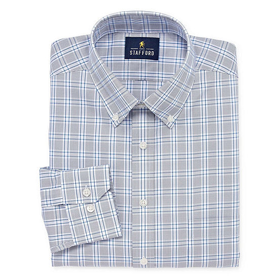 Stafford Executive Non-Iron Cotton Pinpoint Oxford Long Sleeve Grid Dress Shirt -Big And Tall