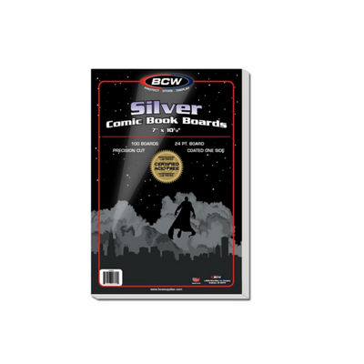 "Bcw Comic Book Silver Backing Boards, 7 X 10 1/2"", Silver (100 Boards Per Pack)"