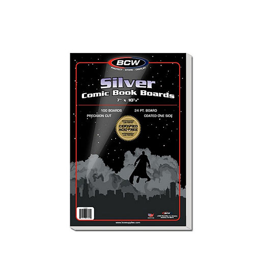 """Bcw Comic Book Silver Backing Boards, 7 X 10 1/2"""", Silver (100 Boards Per Pack)"""