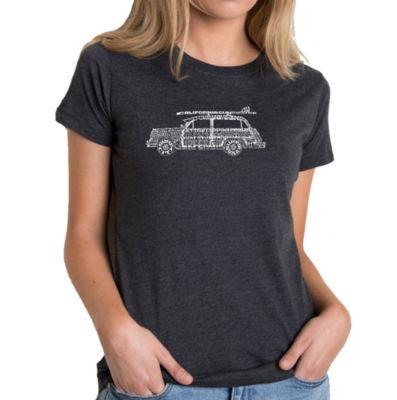 Los Angeles Pop Art Women's Premium Blend Word ArtT-shirt - Woody - Classic Surf Songs