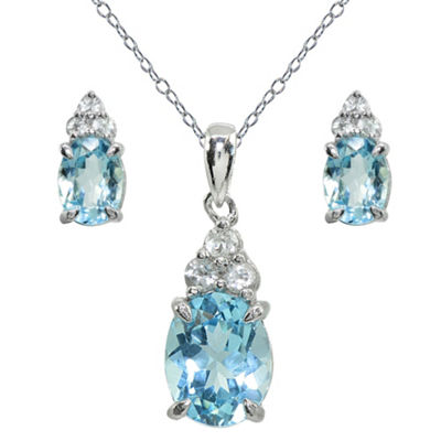 Blue Topaz Sterling Silver 2-pc. Jewelry Set