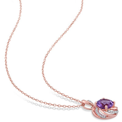 Womens Diamond Accent Genuine Purple Amethyst 18K Rose Gold Over Silver Pendant Necklace