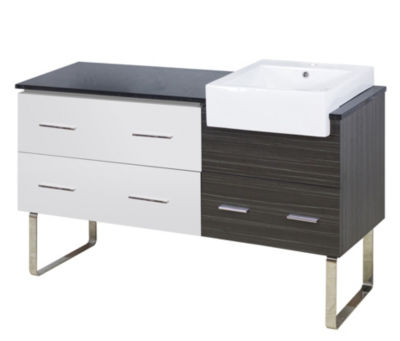 57.75-in. W 18-in. D Modern Plywood-Melamine Vanity Base Set Only In White-Dawn Grey