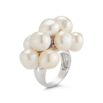 Womens 12-13MM White Cultured Freshwater Pearl Sterling Silver Cocktail Ring