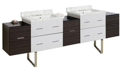 88.5-in. W Floor Mount White-Dawn Grey Vanity SetFor 3H4-in. Drilling Bianca Carara Top White UM Sink