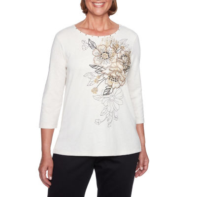 Alfred Dunner Travel Light 3/4 Sleeve Crew Neck Floral Embroidered T-Shirt-Womens
