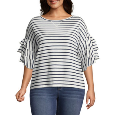 a.n.a 3/4 Ruffle Sleeve Stripe Sweatshirt – Plus