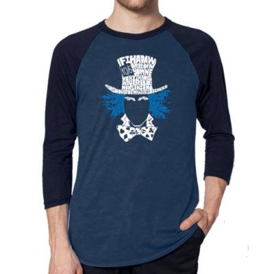 Los Angeles Pop Art Men's Big & Tall Raglan Baseball Word Art T-shirt - The Mad Hatter