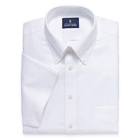 Mens Vintage Shirts – Retro Shirts Stafford Mens Short Sleeve Wrinkle Free Oxford Big and Tall Dress Shirt 19  White $36.80 AT vintagedancer.com