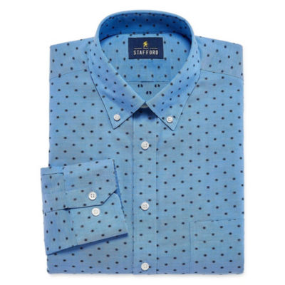 Stafford Executive Non-Iron Cotton Pinpoint Oxford Big And Tall Long Sleeve Pattern Dress Shirt