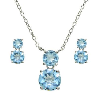 Blue Topaz Sterling Silver 2-pc. Jewelry Set