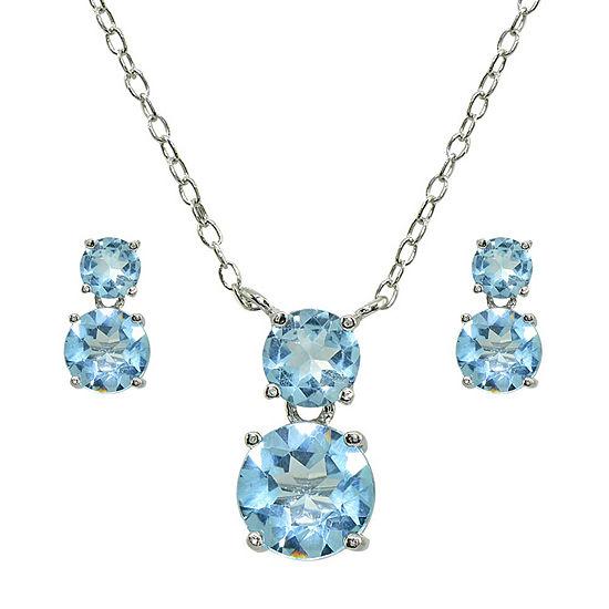 Genuine Blue Topaz Sterling Silver 2-pc. Jewelry Set