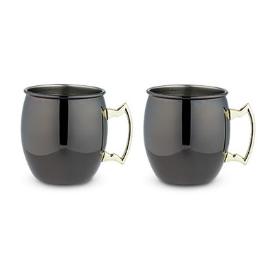 Black Moscow Mule Mug With Gold Handle 2 Pack By True