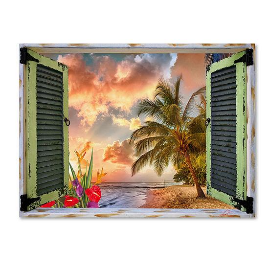 Trademark Fine Art Leo Kelly Tropical Window to Paradise IV Giclee Canvas Art
