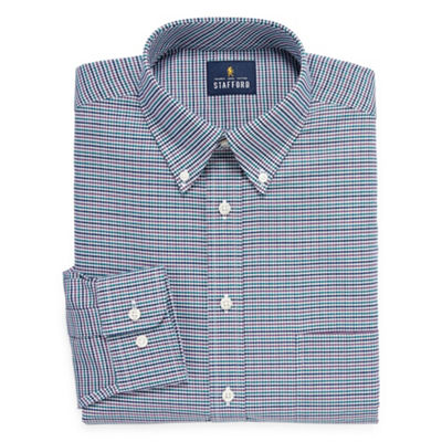 Stafford Travel Wrinkle Free Stretch Oxford Big And Tall Long Sleeve Checked Dress Shirt