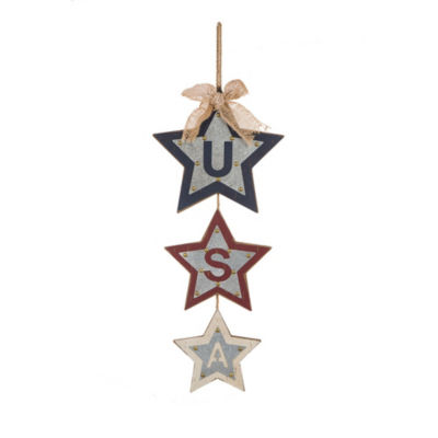 """""""USA"""" Iron Studded Star Dangle Hanging Decor"""