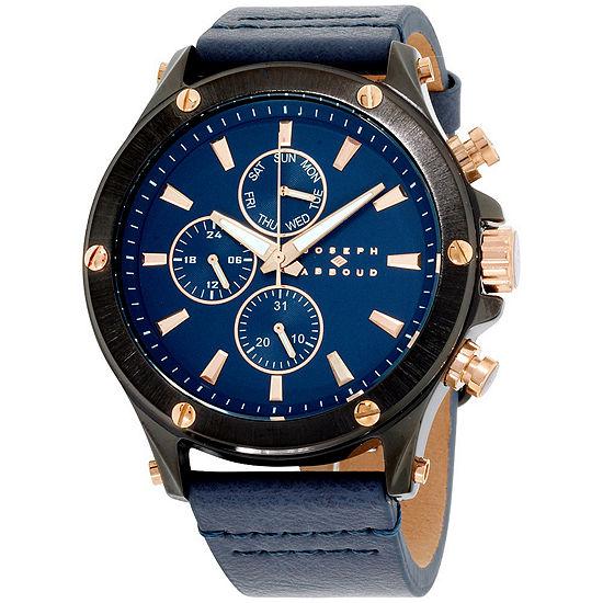 Joseph Abboud Mens Blue Leather Strap Watch-Ja3204bk648-709
