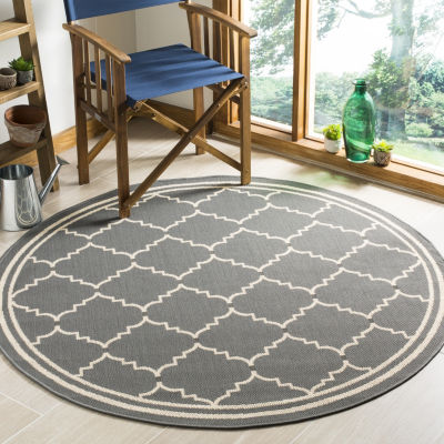 Safavieh Courtyard Collection Skin Geometric Indoor/Outdoor Round Area Rug