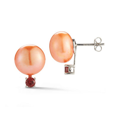 Red Cultured Freshwater Pearl Sterling Silver 16.7mm Stud Earrings
