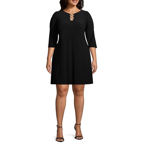 MSK 3/4 Sleeve Ring Neck Shift Dress - Plus