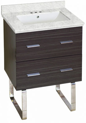 23.75-in. W Floor Mount Dawn Grey Vanity Set For 3H4-in. Drilling Bianca Carara Top White UM Sink