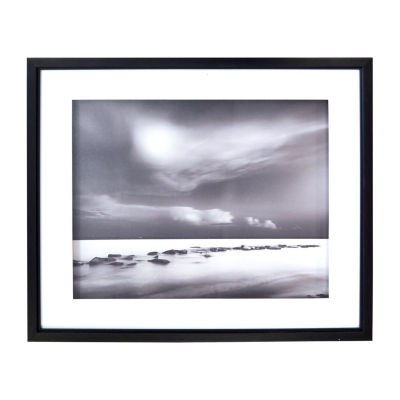 New View Black & White Tide Shadowbox Canvas Art
