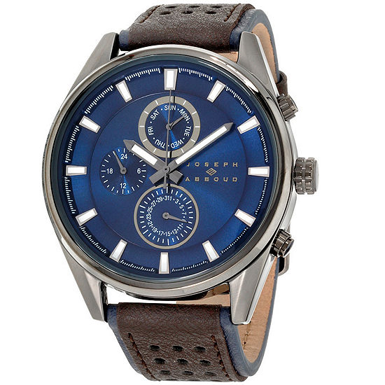 Joseph Abboud Mens Two Tone Leather Strap Watch-Ja3205bk648-030