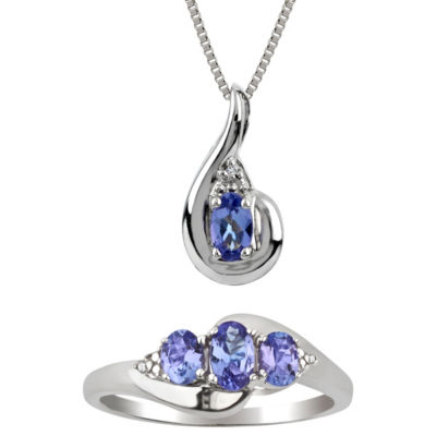 Diamond Accent Purple Tanzanite Sterling Silver 2-pc. Jewelry Set