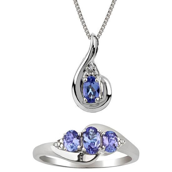 Diamond Accent Purple Tanzanite Sterling Silver 2-pc. Jewelry Set