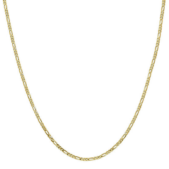 10K Gold 16 Inch Solid Figaro Chain Necklace