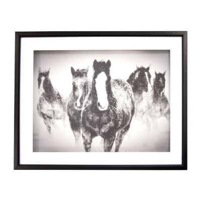 New View Black & White Horses - Winter Rumble Canvas Art