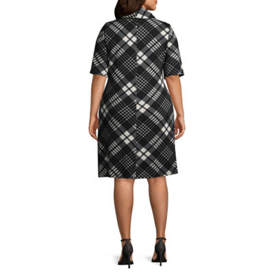 Studio 1 Cowl Neck Plaid Dress - Plus