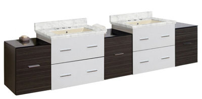 88.5-in. W Wall Mount White-Dawn Grey Vanity Set For 3H8-in. Drilling Bianca Carara Top Biscuit UM Sink