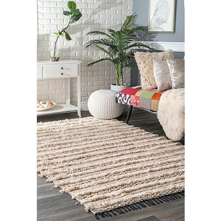 nuLoom Emerita Tassel Shag Woven Handmade Area Rug, One Size , Beige