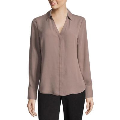 Worthington Long Sleeve Soft Blouse - Tall