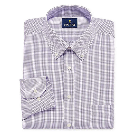 Stafford Executive Non-Iron Cotton Pinpoint Oxford Big And Tall Mens Button Down Collar Long Sleeve Dress Shirt