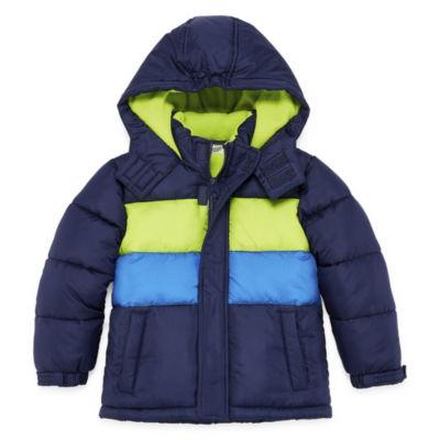 Okie Dokie - Boys Hooded Water Resistant Heavyweight Puffer Jacket-Toddler
