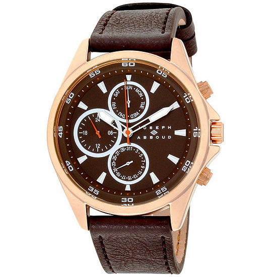 Joseph Abboud Mens Brown Leather Strap Watch-Ja3207rg648-127